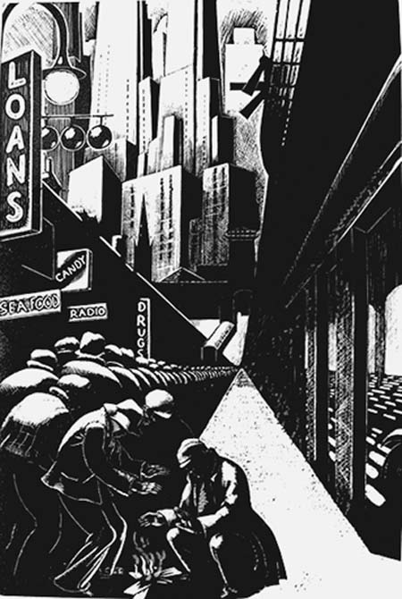 """Nightsticks and jail time cannot address the lack of housing and services that put millions of people on the streets in the first place. """"Bread Line."""" Wood engraving by Clare Leighton Courtesy of M. Lee Stone Fine Prints, San Jose"""