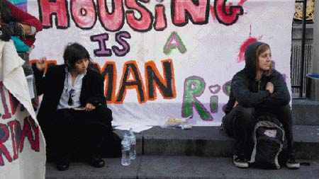 """Housing Is A Human Right."" Protesters take over a vacant building in San Francisco on Black Friday. Carol Harvey photo"