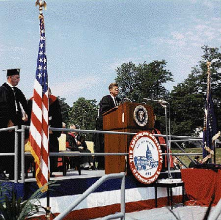 """ennedy delivers the commencement address at American University in Washington, D.C., on June 10, 1963. Saturday Review editor Norman Cousins summed up the significance of this remarkable speech: """"At American University on June 10, 1963, President Kennedy proposed an end to the Cold War."""" Photo by Cecil Stoughton, in the John F. Kennedy Presidential Library and Museum."""