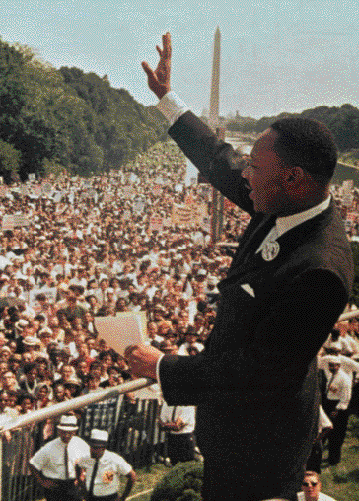 "Martin Luther King, Jr. gives his ""I Have a Dream"" speech to a huge gathering by the Washington monument. In April 1968, King was assassinated while planning to return to Washington, D.C., to launch a massive Poor People's Campaign."