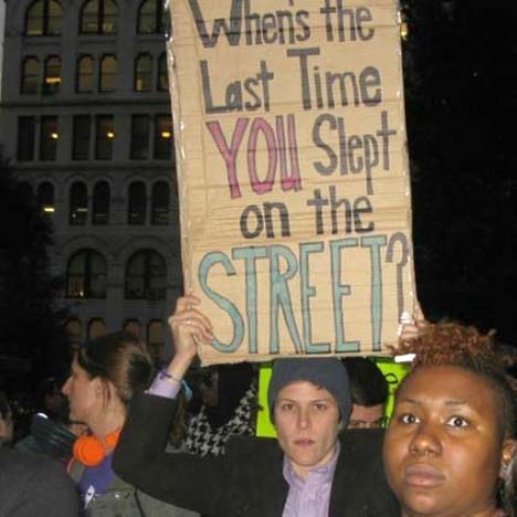"""""""When's the Last Time You Slept on the Street?"""" A question raised by demonstrators calling for shelter, housing and services for transgender youth who are homeless."""