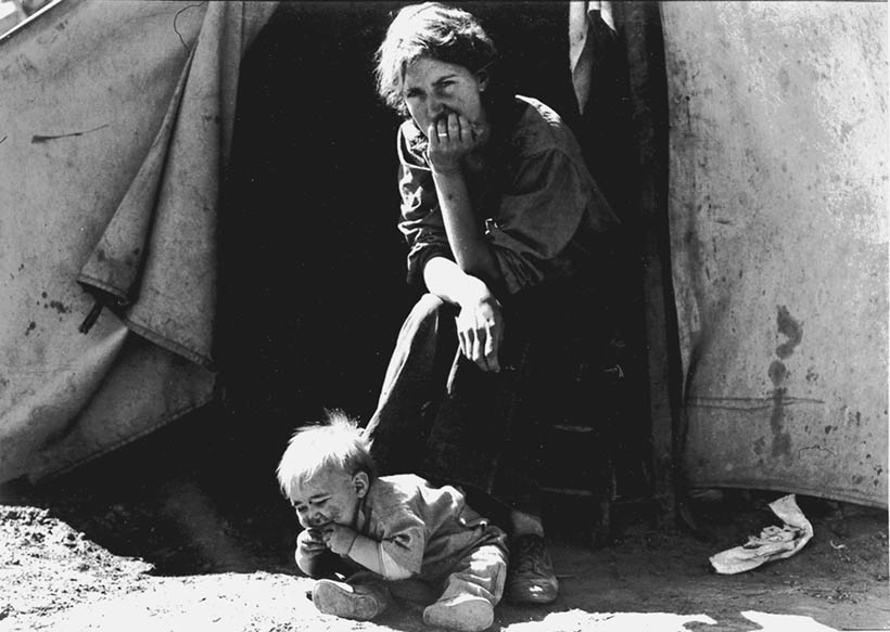"""From the series """"Migrant Mother"""", Dorothea Lange's unforgettable image of a mother and child weathering the hardships of the Dust Bowl era."""