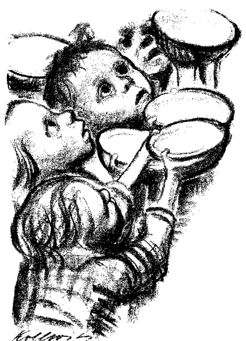 """""""The Children Are Starving."""" Art by Kaethe Kollwitz, lithograph, 1924"""