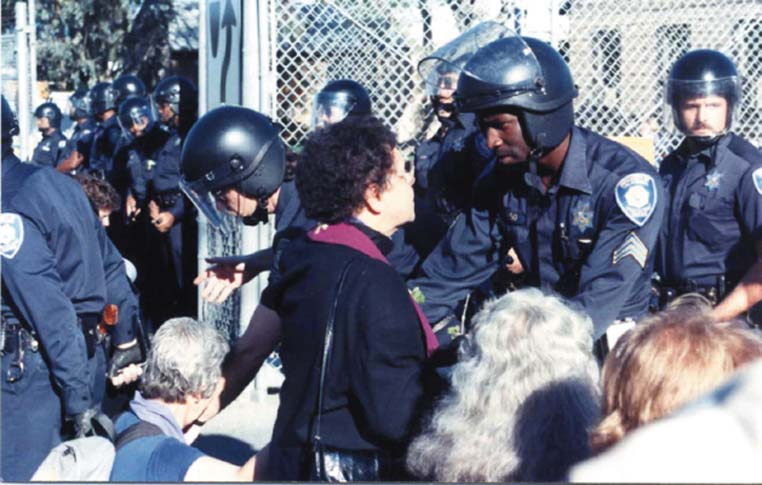 Methodist Bishop Leontine Kelly is arrested at a Livermore Laboratory protest.