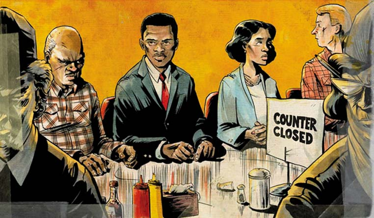 John Lewis joins the historic sit-in at a Nashville lunch counter. Detail of art from book cover of March: Book One.