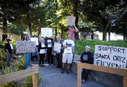 """Advocates gather outside Santa Cruz jail and court to support homeless defendants being prosecuted for """"sleep crimes."""""""