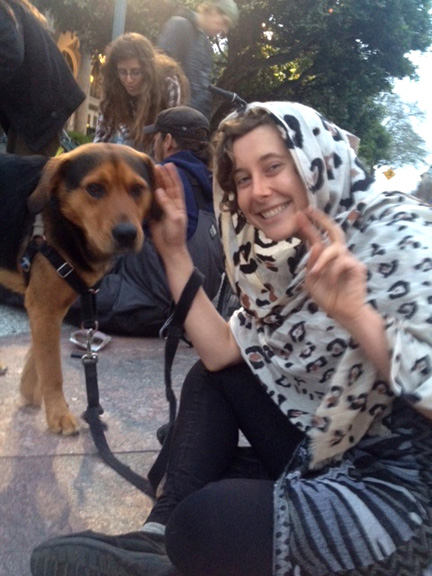 "Free, a homeless activist, and her activist dog launched a ""slumber party"" outside the Santa Cruz Post Office."