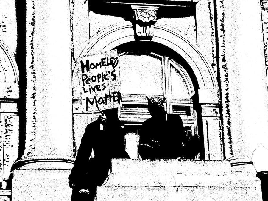 """Homeless People's Lives Matter."" Artwork based on the Berkeley City Council protest on March 17. Art by Carol Denney"