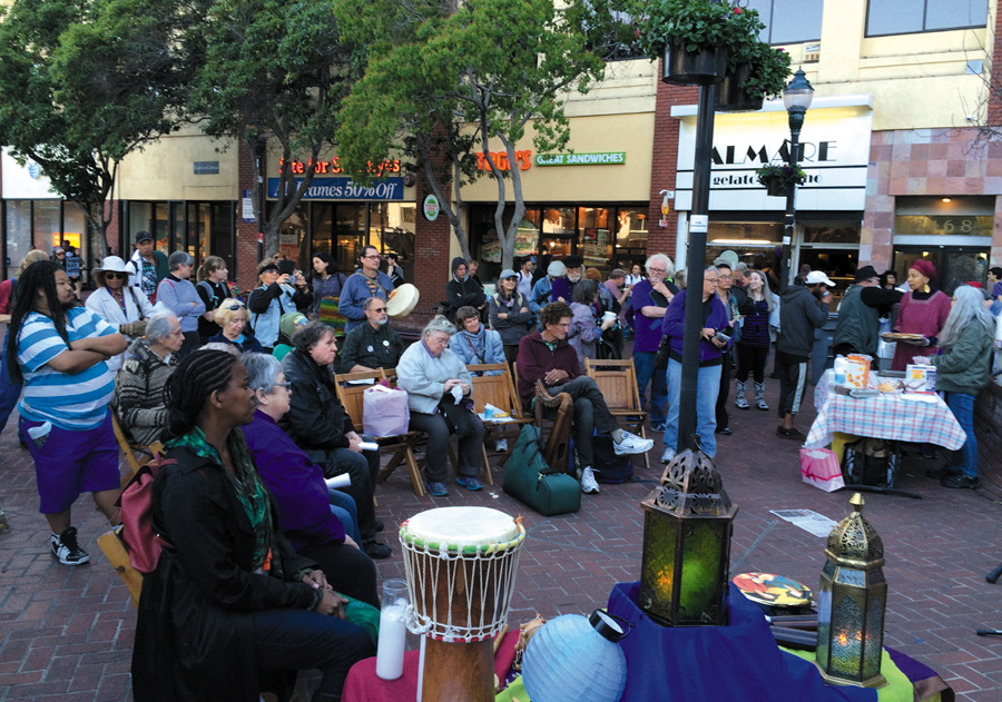 Many people gathered in downtown Berkeley for an interfaith rally on April 9 at the berkeley BART Plaza in solidarity with homeless people. Alex Madonik photo
