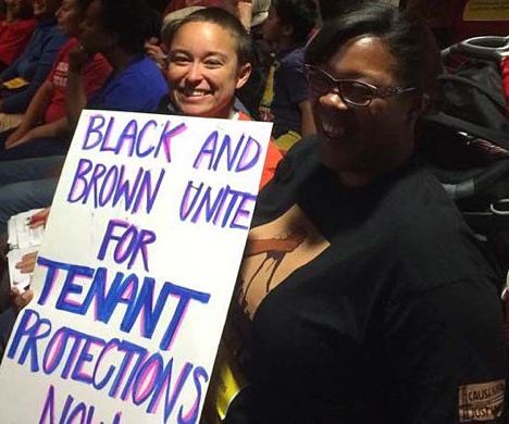 At Oakland City Hall to push for the Tenant Protections Ordinance, 2014. CJJC Photo