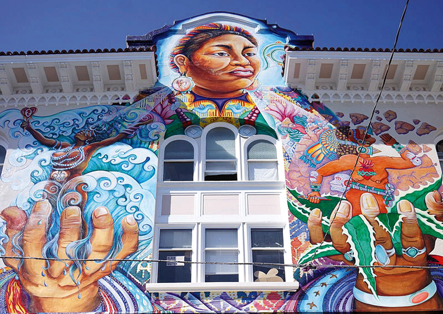 The mural on the Women's Building in San Francisco features images of iconic women in history. Frances M. Beal is one of the women named and honored as part of this mural. The mural was painted by Juana Alicia, Miranda Bergman, Edythe Boone, Susan Kelk  Cervantes, Meera Desai, Yvonne Littleton, Irene Perez, and many helpers. Photo credit: Plateaueatplau