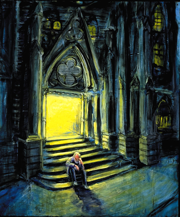 """""""Church."""" A homeless man finds refuge on the steps of a church in this painting.  Many faith communities in Berkeley are involved in providing shelter, housing and meals to homeless people.  Art by Jonathan Burstein"""