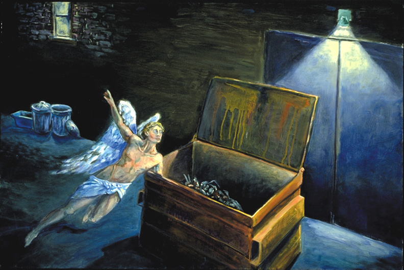 An angel hovers over a dumpster. Many faith traditions are deeply committed to acts of compassion and justice for poor and homeless people. Art by Jonathan Burstein.