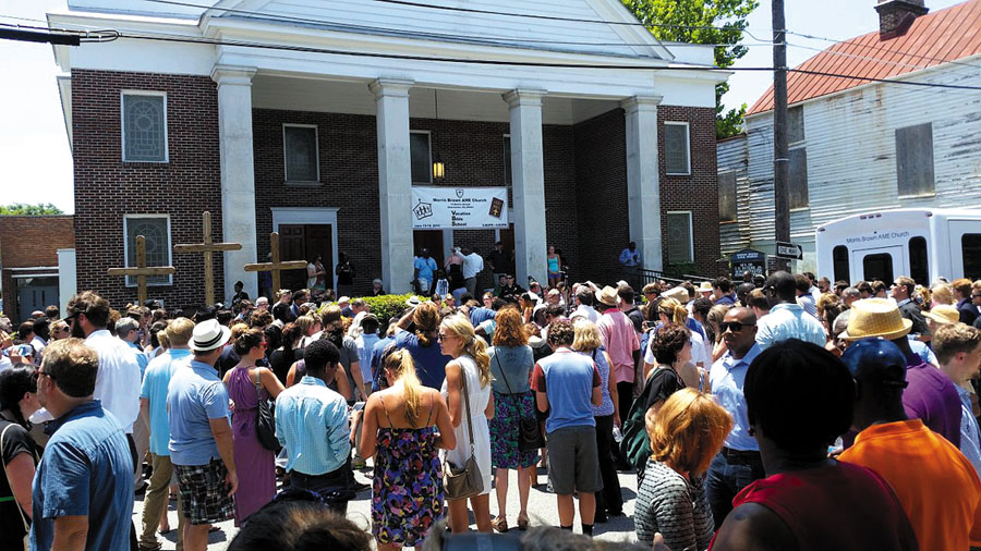 A memorial service for the Charleston church shooting was held at Morris Brown AME Church on June 18. Photo: Nomader