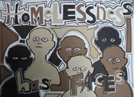 """""""Homelessness Has Faces.""""  Rodney Bell, a formerly homeless artist and musician, created this artwork to show that people who have been homeless are all individuals — and not a faceless mass or nameless category."""