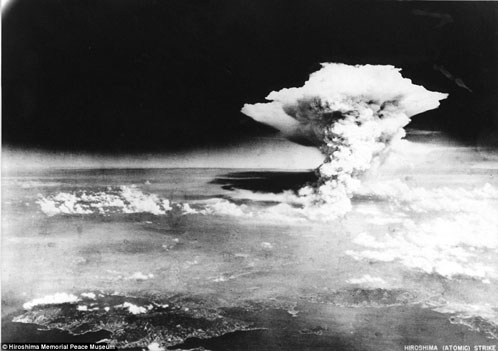The mushroom cloud that devastated the city of Hiroshima was dropped by the Enola Gay bomber, the first atomic bomb ever dropped on a city. Photo: Hiroshima Memorial Peace Museum