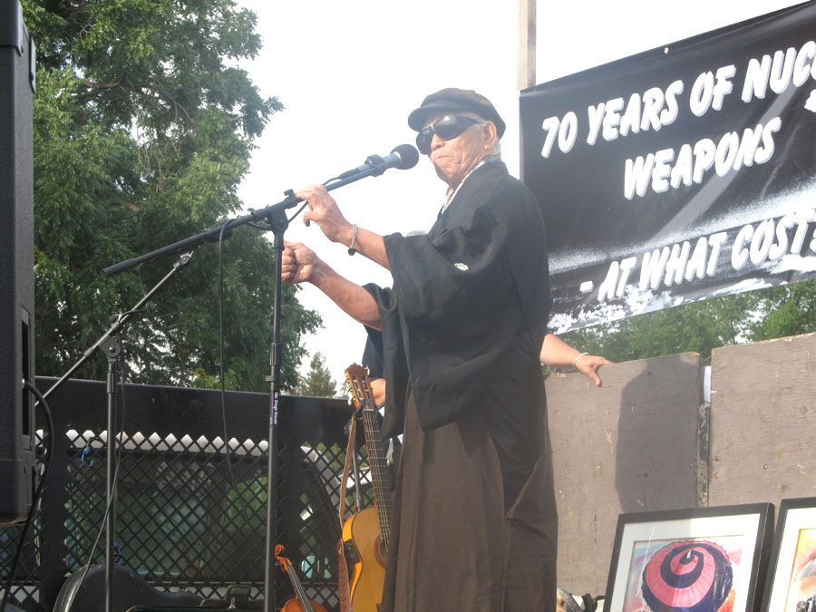 Takashi Tanemori, a survivor of the atomic bomb dropped on Hiroshima, spoke out at Livermore Laboratory as the voice of conscience for all those who were forever silenced.   Photo by Ellen Danchik