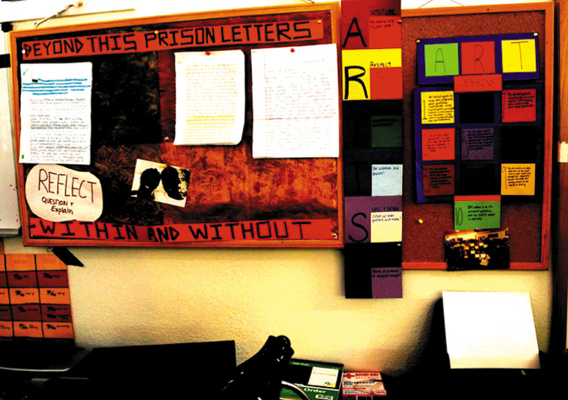 """The """"Beyond This Prison"""" letters writing project wall at YSA. Carol Denney photo"""