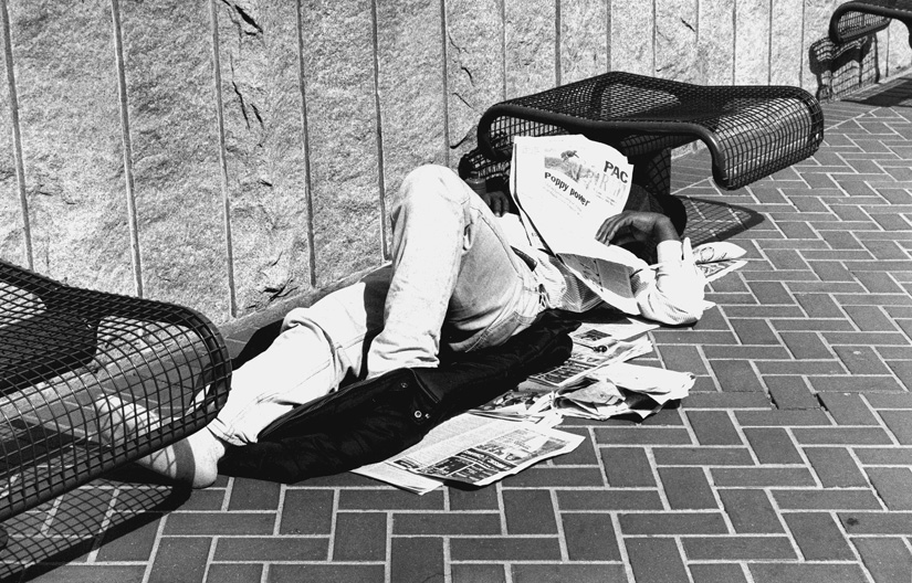 Homeless people may find solace by sleeping under newspapers, but rarely will they find any help in the news reports inside. Corporate media outlets are filled with anti-homeless bias.