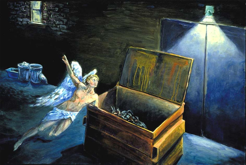 """""""Dumpster Dive."""" An angelic spirit hovers over an alley where homeless people seek food and shelter. Painting by Jonathan Burstein"""