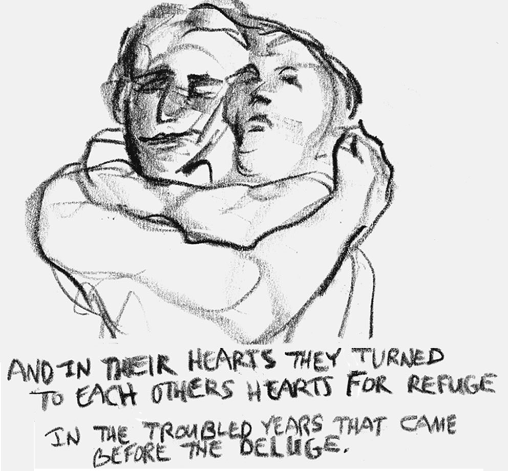 """""""And in their hearts they turned to each other's hearts for refuge."""" Art by Joy Destefano"""