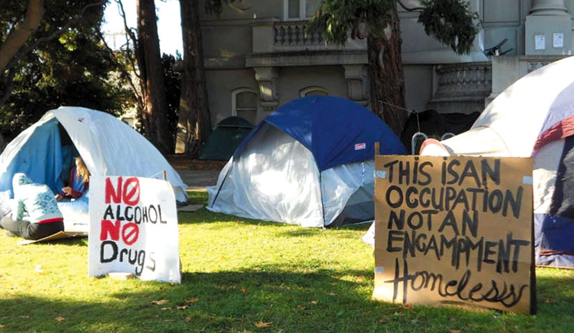 """Signs at the occupation at Old City Hall display the rules created by consensus of the self-governing community of homeless occupants: """"No Alcohol. No Drugs."""" Lydia Gans photo"""
