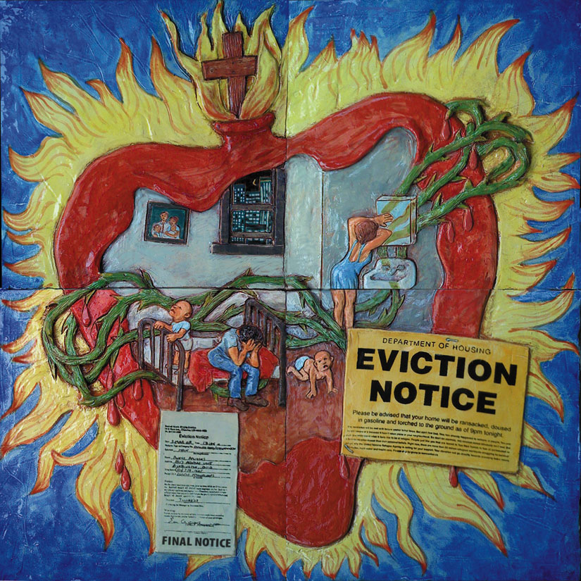 The fear and heartbreak when a poor family receives a final eviction notice. Artwork by Jos Sances, ceramic tile.