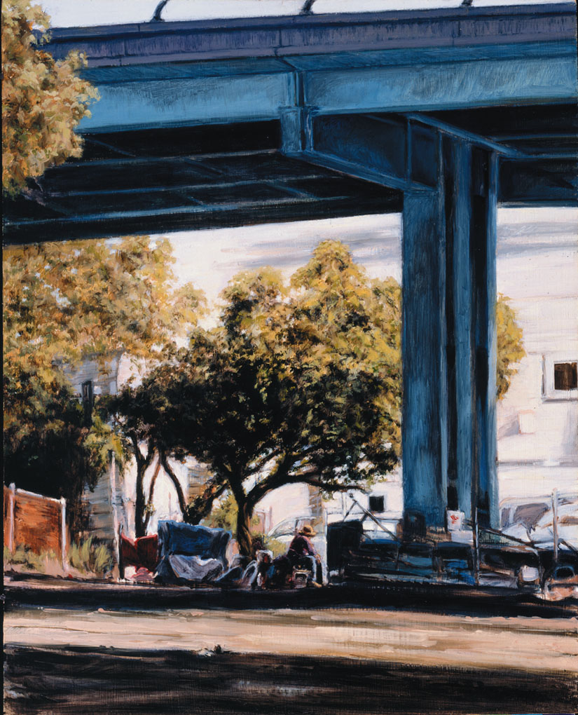 """Where Do You Live?"" A homeless man lives under S.F. freeway. Christine Hanlon art"