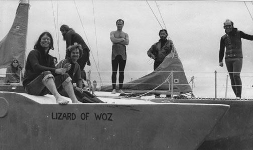 Darla Rucker (at far left), Terry Messman and Bruce Turner (seated in foreground) and Jim Douglass (at far right) on board a sailboat, preparing to sai into the path of the USS Ohio, the first Trident-class submarine, during the peace blockade in August 1982.