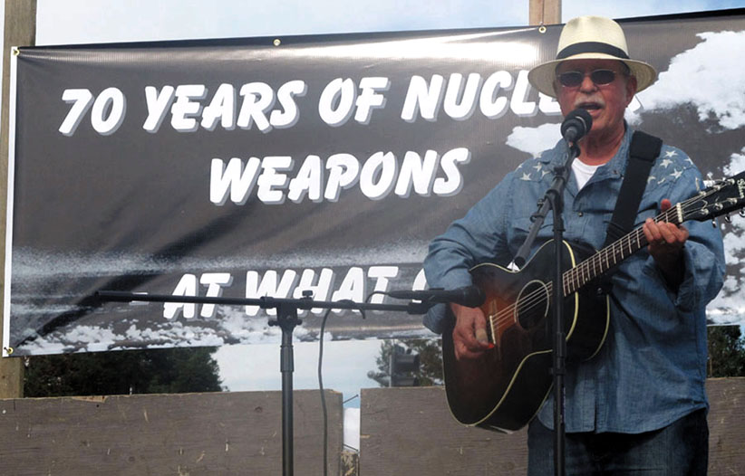 Country Joe McDonald performed anti-war songs at Livermore Lab on Hiroshima Day, August 6, 2015, on the 70th anniversary of the atomic bombing of Hiroshima.