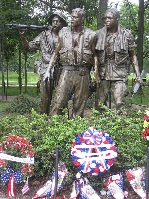 """""""The Three Soldiers."""" A bronze sculpture by Frederick Hart at the Vietnam Veterans Memorial in Washington, D.C."""