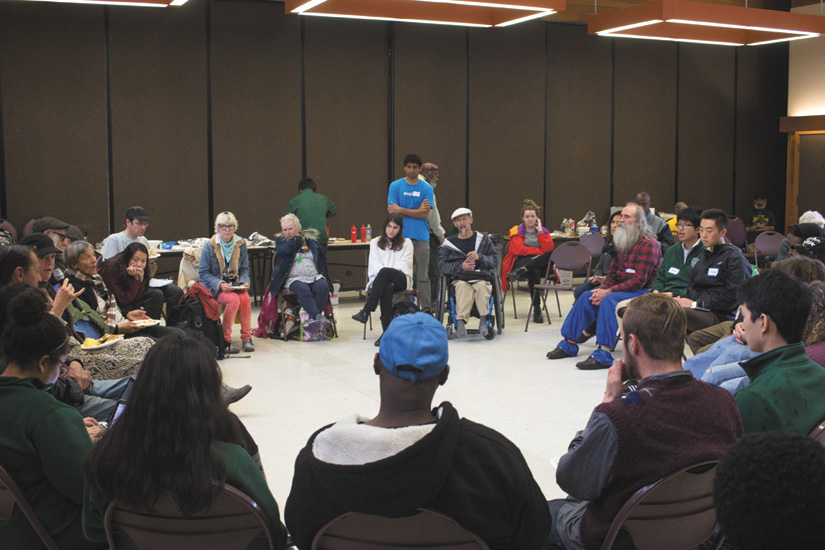 The Suitcase Clinic held its first Town Hall on Homelessness in Berkeley, a forum for homeless people to share their ideas and experiences.