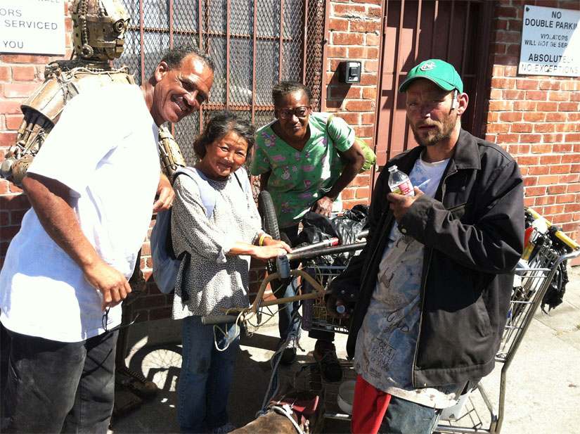 Jason Goodwin with his community of friends and fellow recyclers at Alliance Metals in West Oakland.