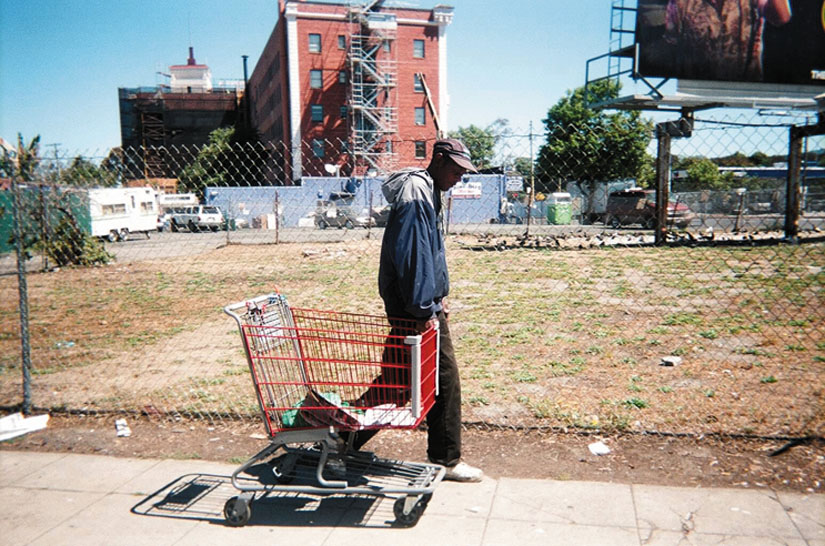 """""""A Way to Survive."""" Keith Arivnwine took this photo as part of """"On Our Way Home,"""" a photography exhibit created by St. Mary's Center. """"When I was homeless, I used a shopping cart to carry my belongings and to recycle,"""" said Arivnwine."""