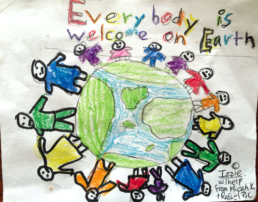 """""""Everybody Is Welcome on Earth."""" Art by Izzie with help from Micah and Rafael"""