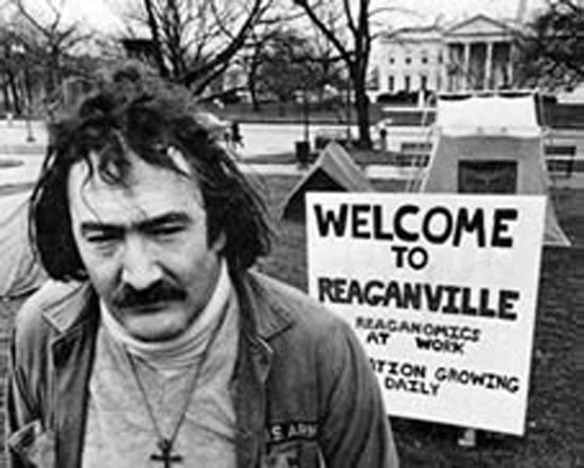 A Reaganville protest organized by Mitch Snyder, the leader of the Community for Creative Nonviolence in Washington, D.C.