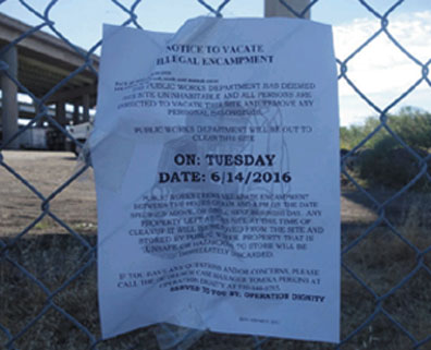 "Oakland officials posted this note to vacate the encampment and used the term ""abatement"" to describe their attempt to discard human beings."