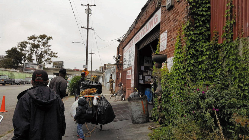 Customers roll in at 8 a.m. sharp to Alliance Recycling in Oakland on the last day after the gate opens. Denise Zmekhol photo