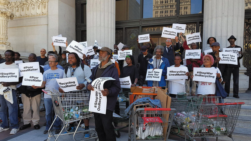 Recyclers gathered at City Hall on July 12 to voice their deep concerns about the loss of Alliance Metals. Denise Zmekhol photo