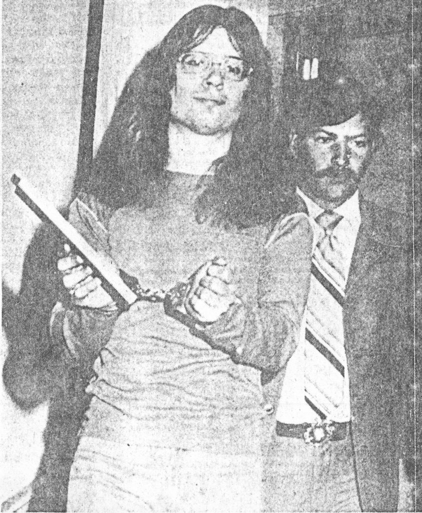 Terry in handcuffs after his protest at the Malmstorm Air Force Base.