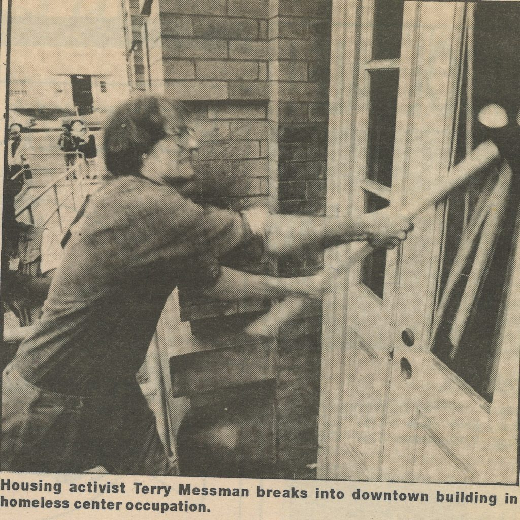 An old newspaper clipping shows Terry breaking into an empty home using a sledgehammer.
