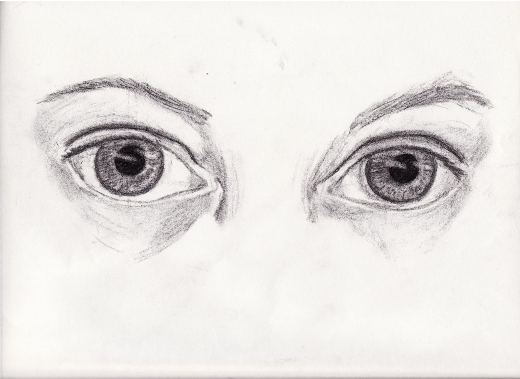 A pencil drawing of a pair of eyes.