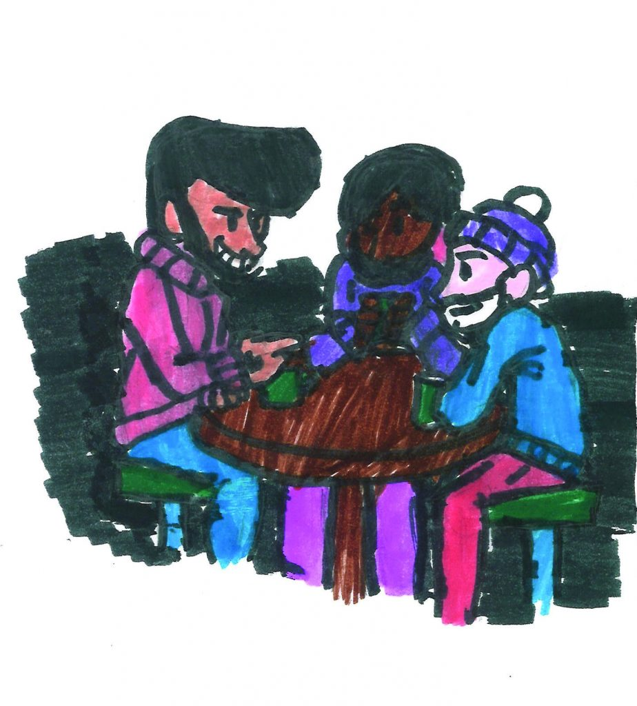 An illustration of Ace, Duncan, and Vince having coffee at the Wall Berlin.