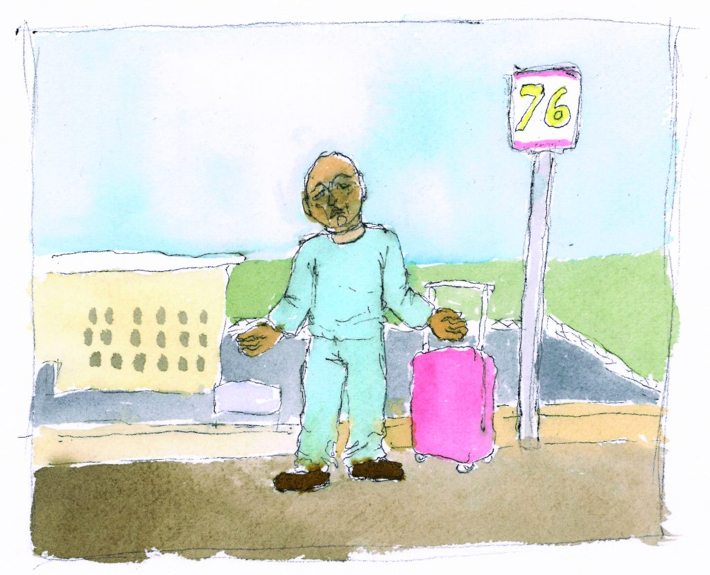 Watercolor drawing of man outside bus stop.