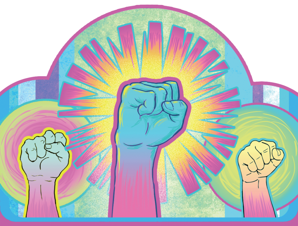Drawing of fists raised in the air.