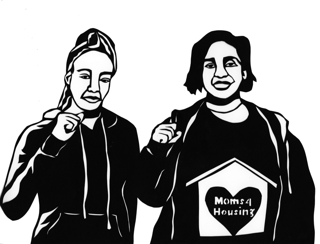 A portrait of Dominque Walker and Sameerah Karim made by a Moms4Housing fan.