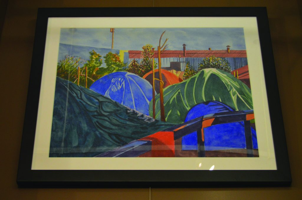A painting of an encampment by Michael Topliff.