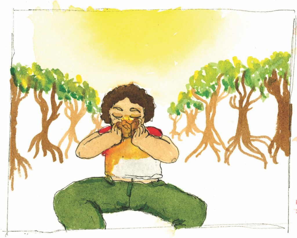 A drawing of a young woman eating a mango.