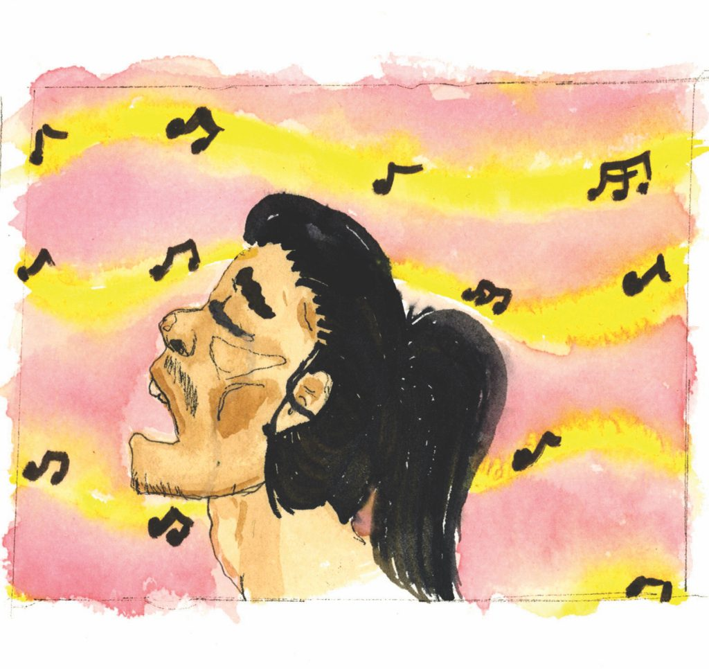 watercolor of person singing.