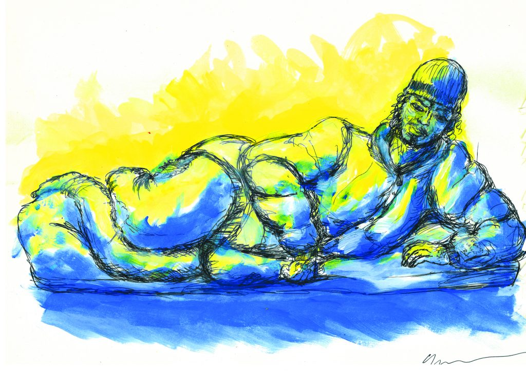 Yellow and blue sketch of person reclining on sleeping bag.